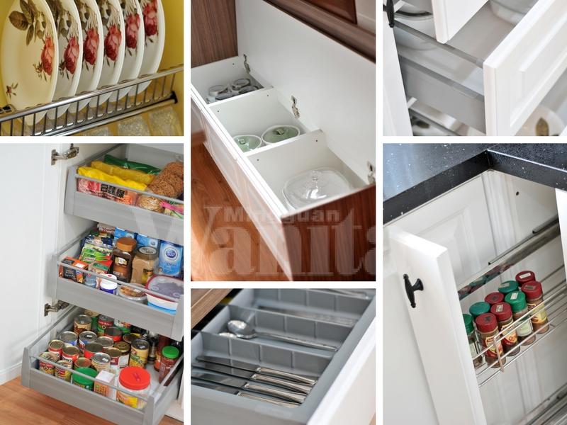 Rekaan Dapur Yang Efisien Ini Dilengkapi Dengan Sistem Soft Close Pada Kesemua Laci Selain Dish Rack Bottle Cutlery Tray Pull Out Baskets